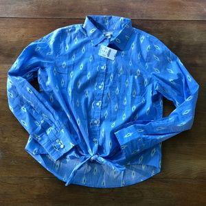 Printed tie-waist shirt